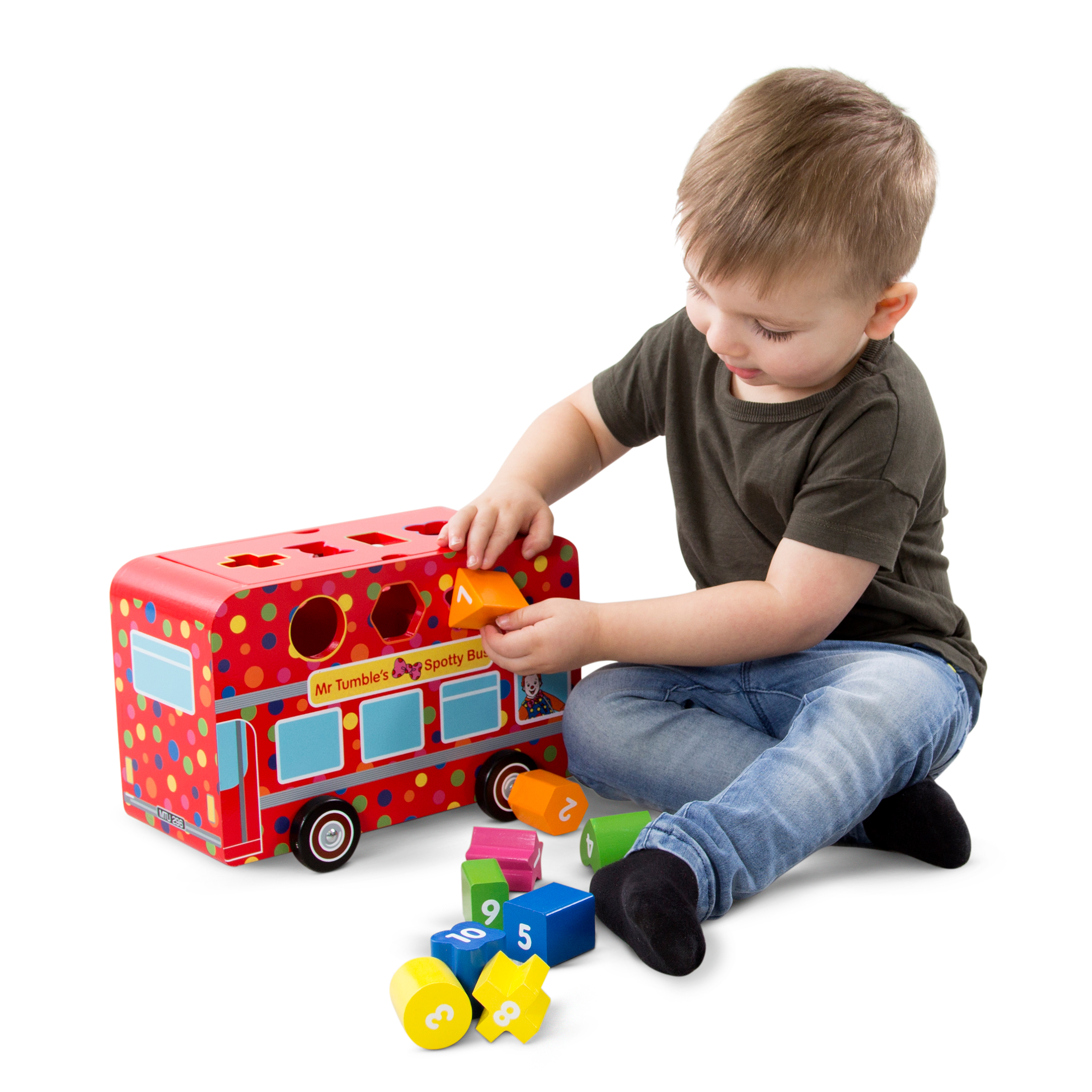 Mr Tumble Wooden Shape Sorting Bus, worth £19.99
