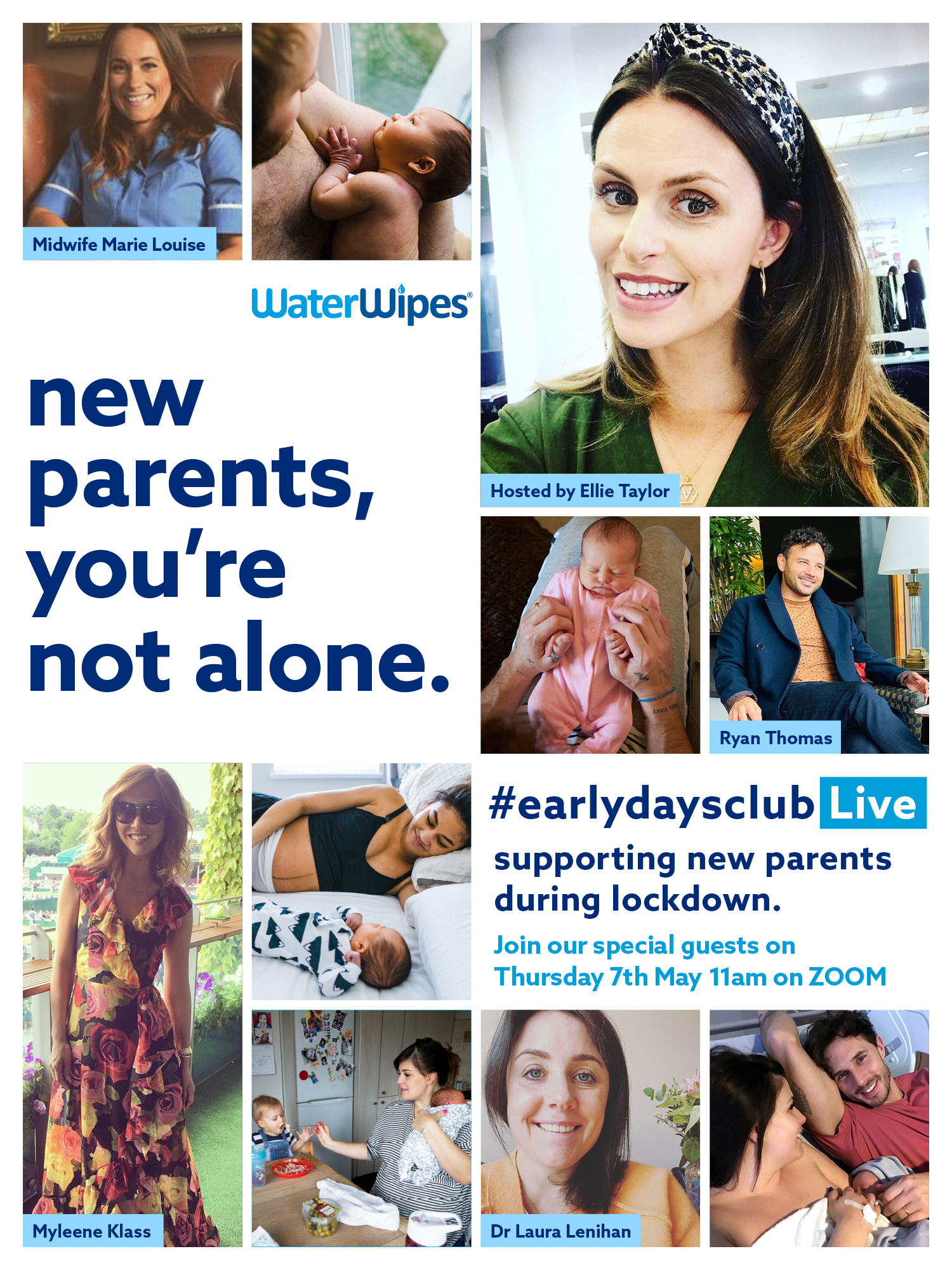 Myleene Klass, Ryan Thomas & Ellie Taylor Launched WaterWipes #EarlyDaysClub, A Virtual Support Network For Expectant And New Parents During Lockdown  image