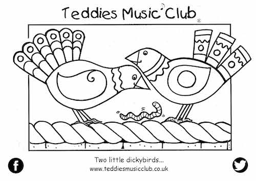 Two Little Dickybirds Colouring In Activity Sheet  image