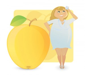 You are an Apple Shape if you carry more of your weight around your bust, arms and tummy and you have straight, narrow hips.