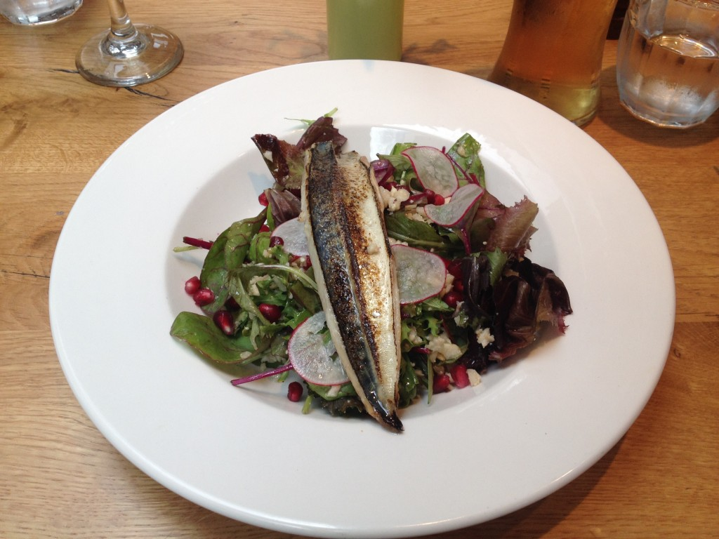 The Blowtorched Mackerel Fillet starter on a bed of cauliflower cous cous and pomegranate salad. Yum!