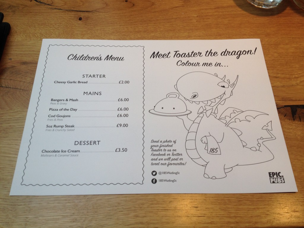 The children's menu at 185 Watling St, Towcester