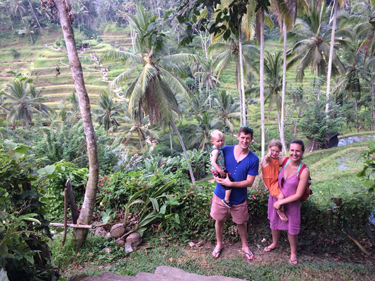 The four of us in Bali visiting Tegalalang rice terraces in Ubud