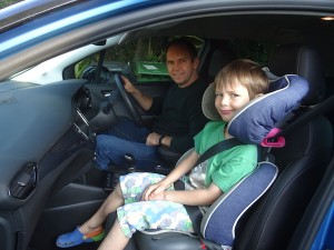 Me and the boy in the driver's seat
