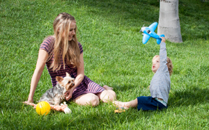 Mum, Baby and Dog playing